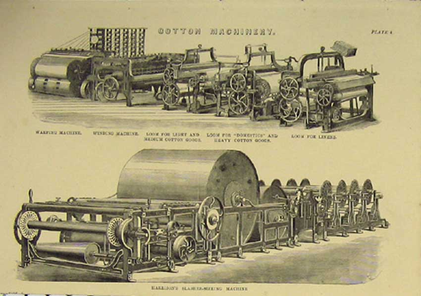 Print C1860 Cotton Machinery Design Architectural 896111 Old Original