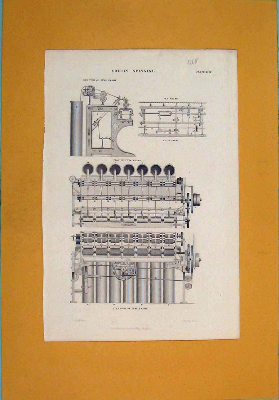 Print Cotton Spinning C1868 Machine Design Art 906111 Old Original
