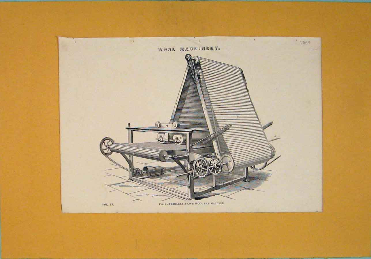 Print Wool Machinery C1860 Lap Architectural Design 936111 Old Original