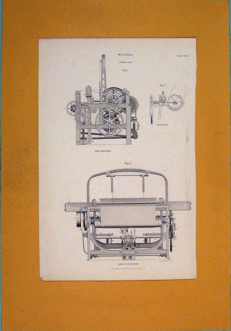 Print Architectural Weaving Machinary Design 956111 Old Original