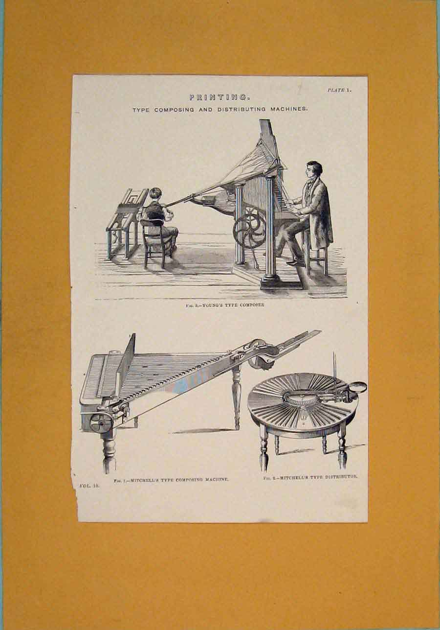Print Ing Distributing Machine Designs 216111 Old Original