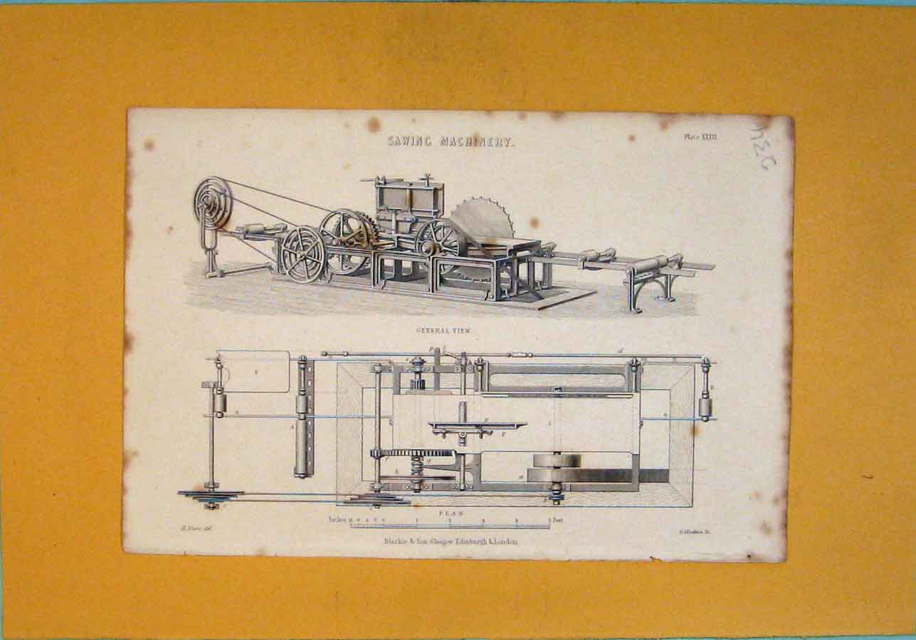 Print Sawing Machinery Design Section View 346111 Old Original