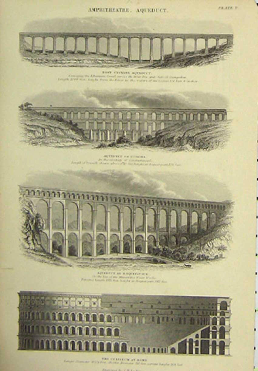 Print C1860 Amphitheatre Aqueduct Bridge Coliseum 446111 Old Original