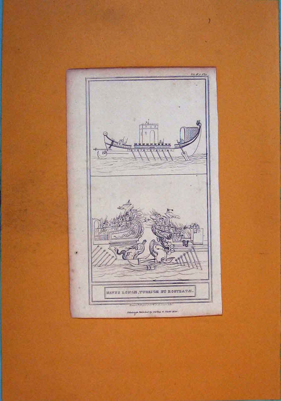 Print Boat Ship Building Architecture Design 756111 Old Original