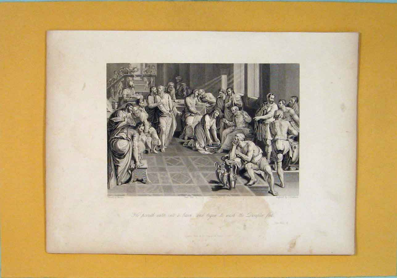 Print John Religious Biblical Fine Art 176121 Old Original