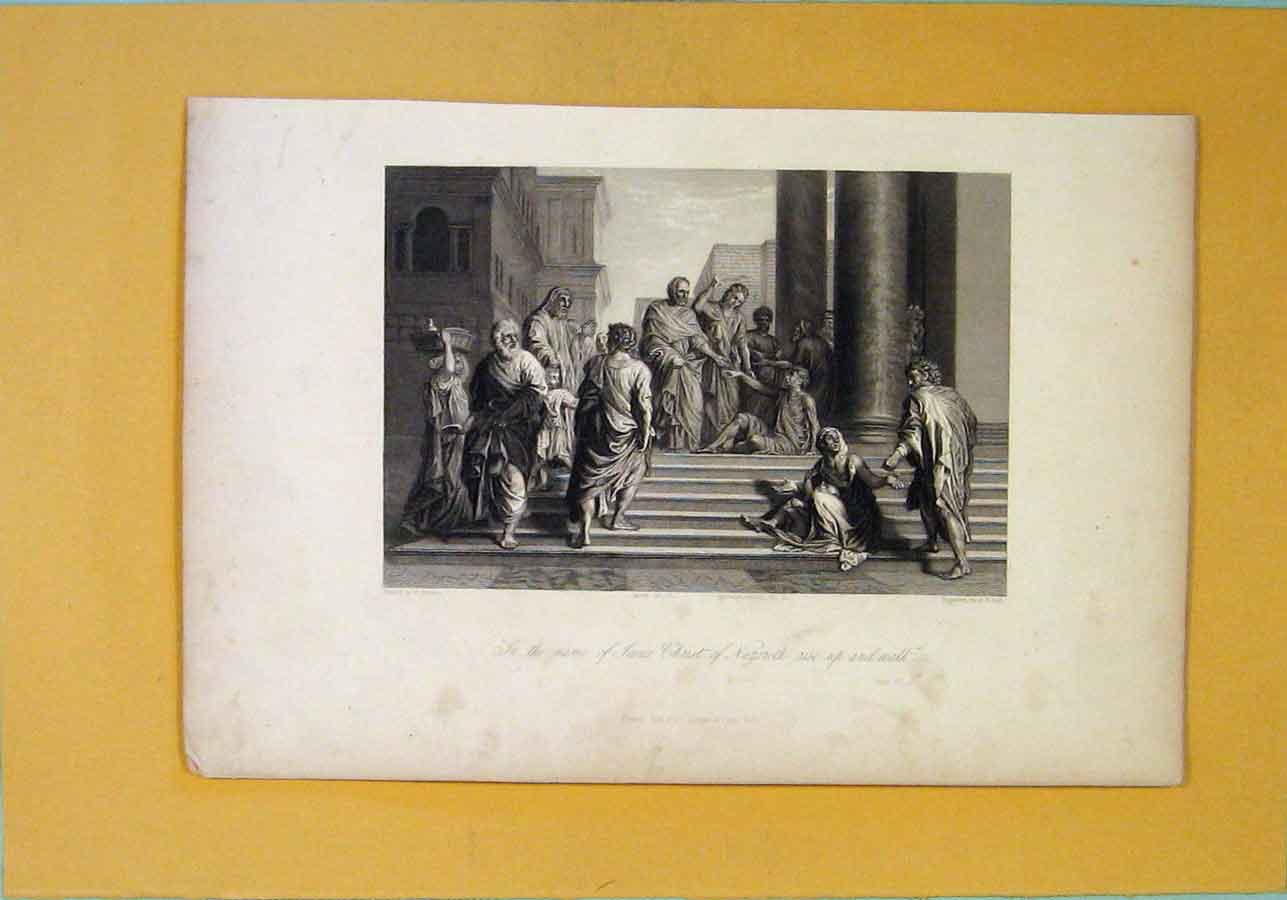 Print Acts Religious Biblical Fine Art Rise 296121 Old Original