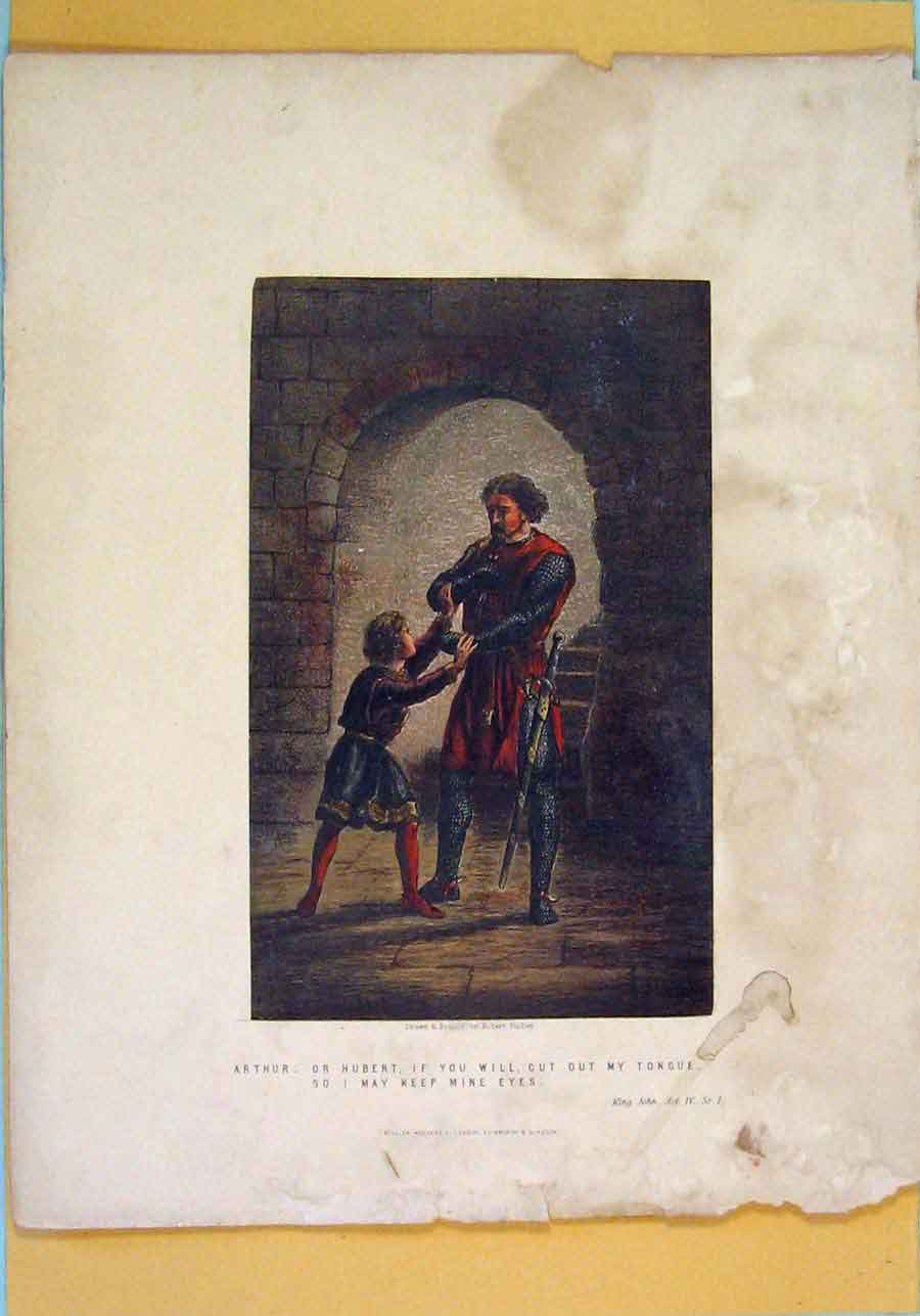 Print King John Play Scene Act Color Arthur 136121 Old Original
