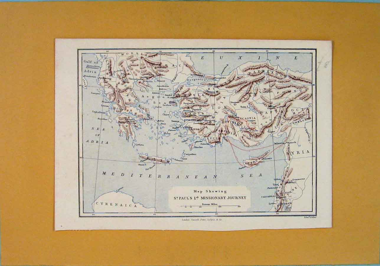 Print Missionary Journey Mediterraean Sea Map Syria 326121 Old Original