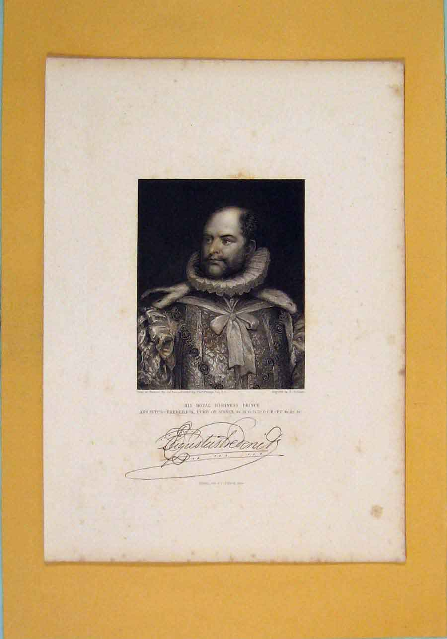 Print Prince Augustus Frederrick Duke Sussex Portrait C1844 826131 Old Original