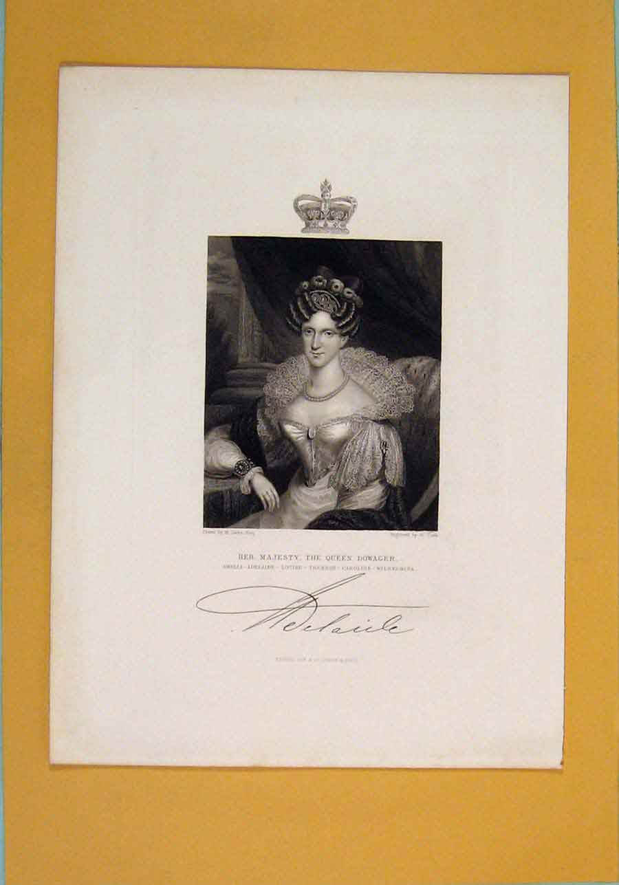 Print Queen Dowager Fine Art Potrait C1840 836131 Old Original