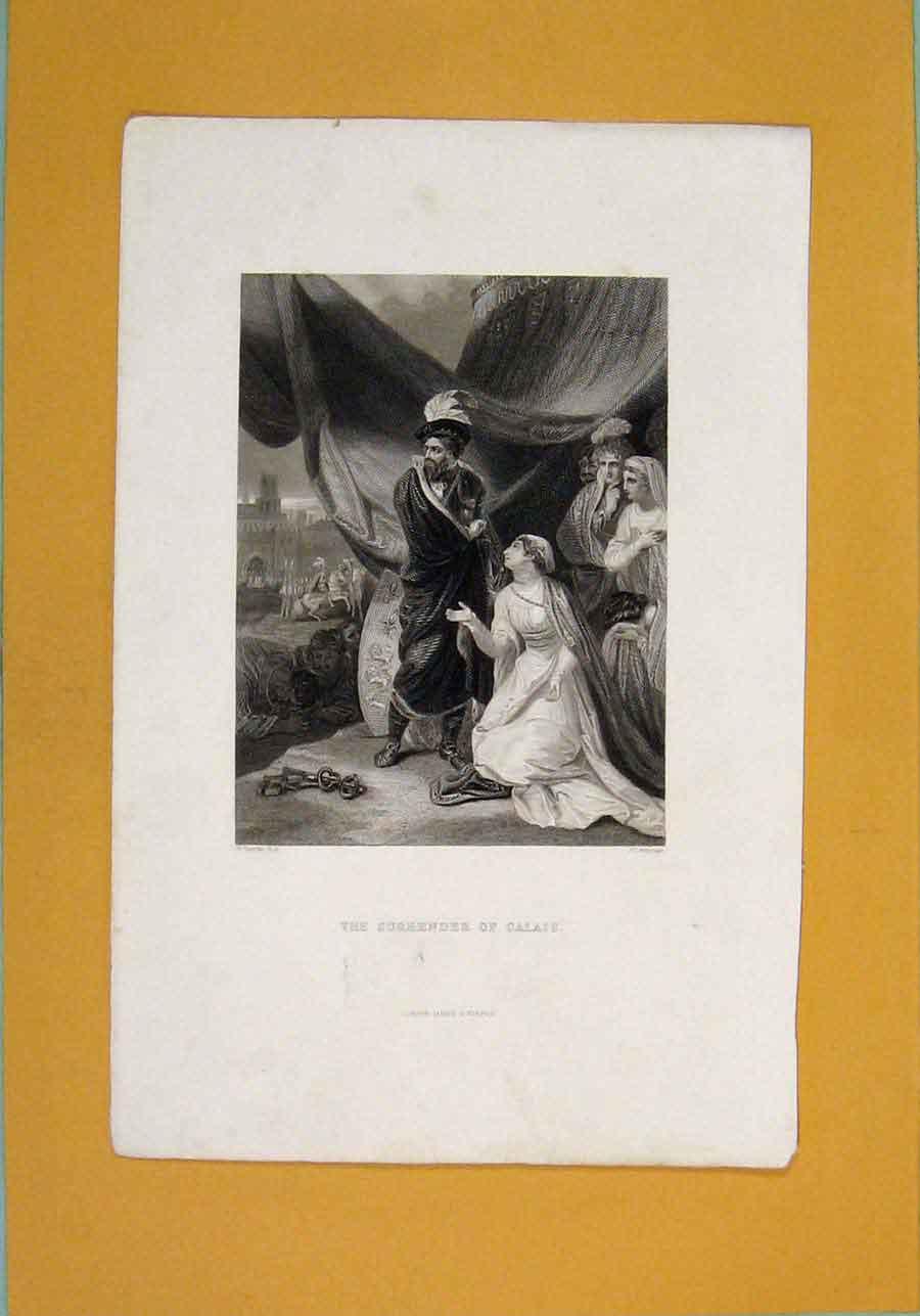 Print Surrender Calais Fine Art C1840 026131 Old Original