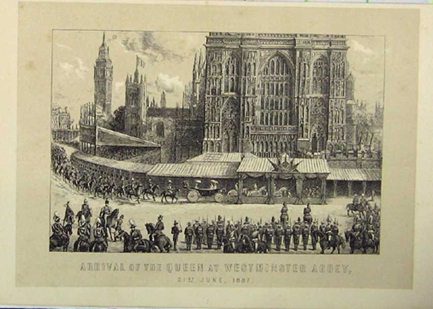 Print Queen Westminster Abbey 1887 Fine Art 086131 Old Original