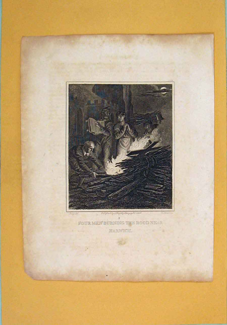 Print Rood Burning Harwich Fine Art C1840 176131 Old Original
