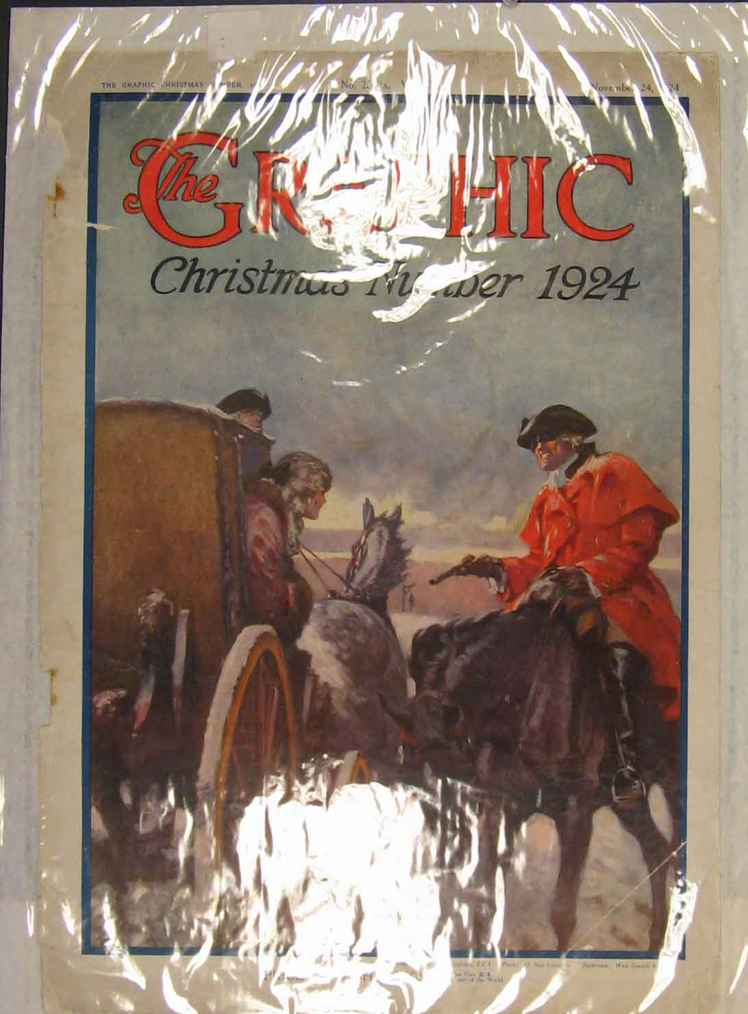 Print Christmas Horse Carriage Cowboy Theif Color 1924 166141 Old Original