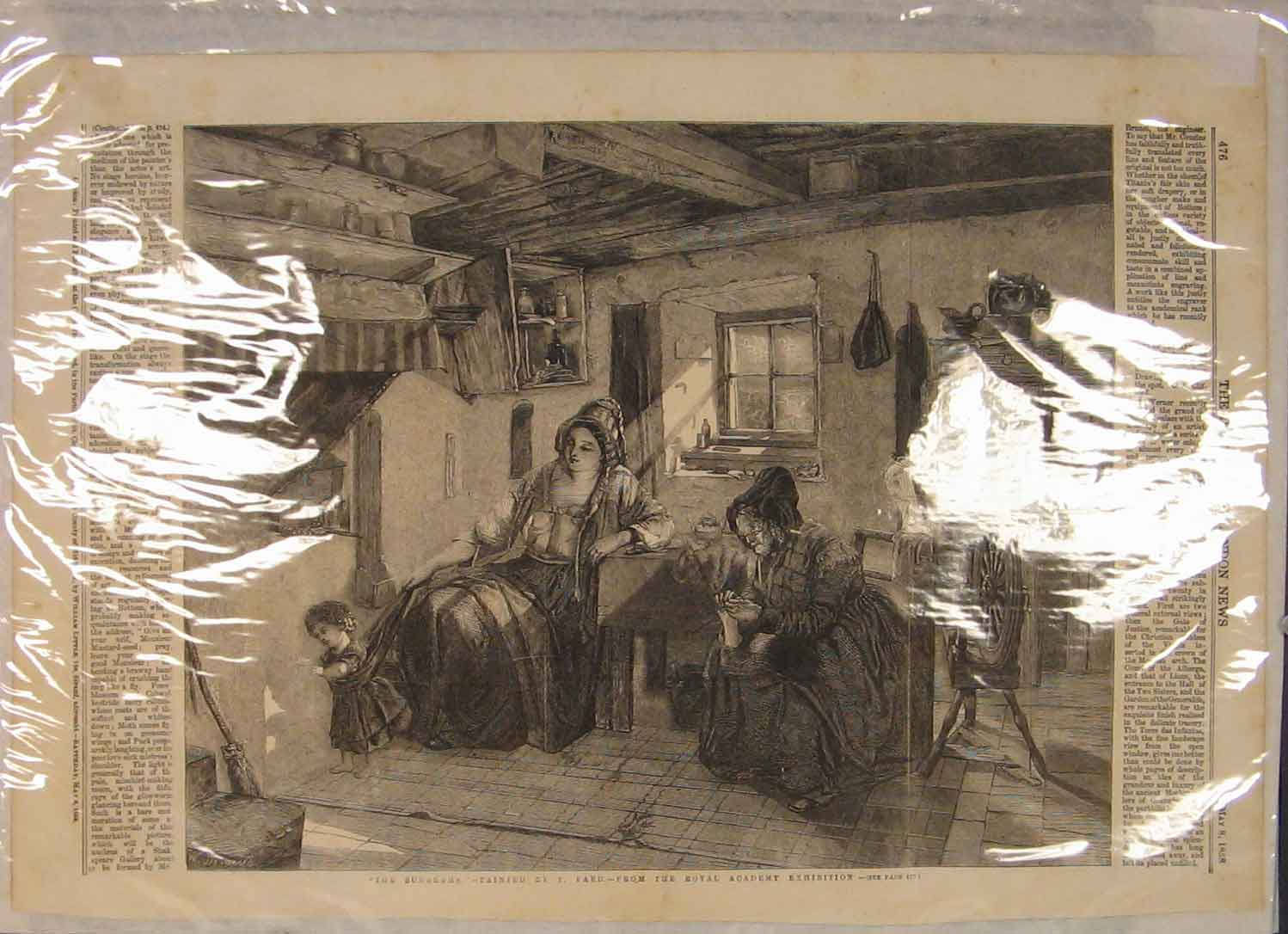 Print News Sunbeams Faed Mother Child Sewing 246141 Old Original