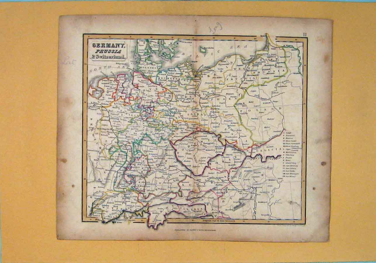 Print Germany Prussia Switzerland Map Maps Geographical 1850 046181 Old Original