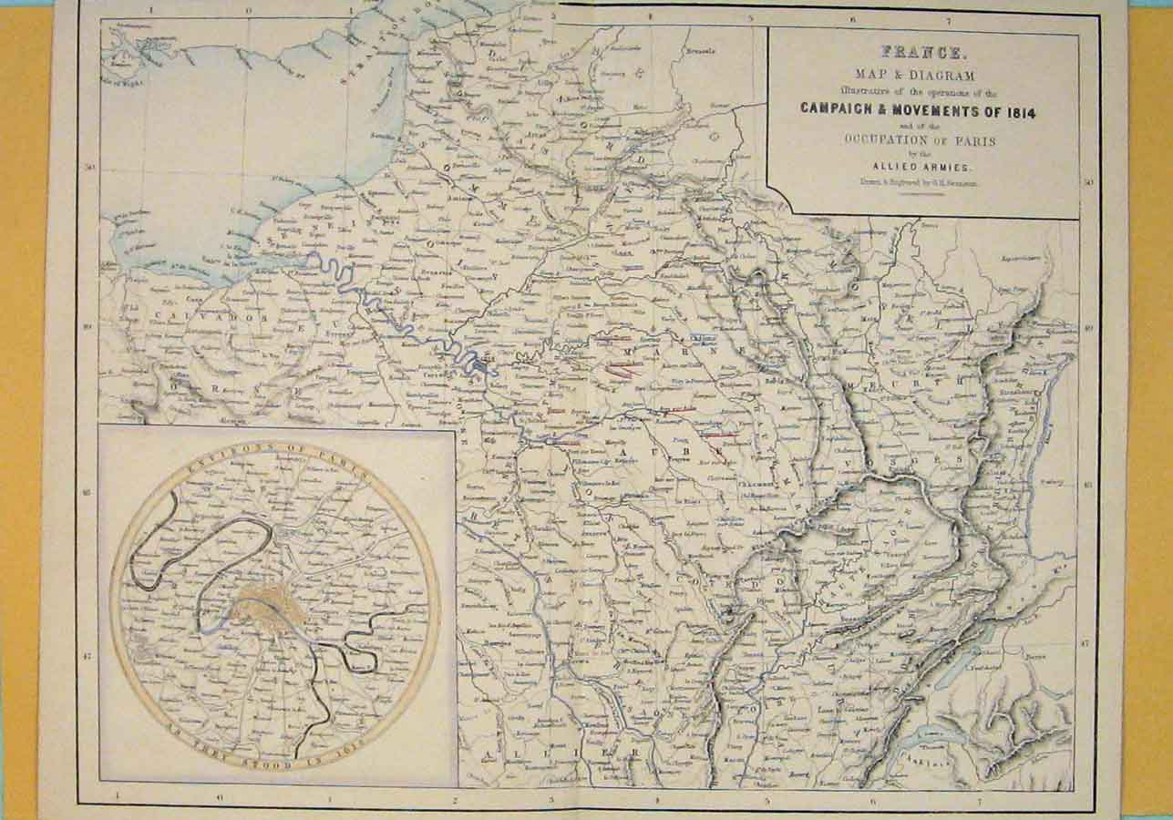 Print France French Campaign Geographical Map Maps 1850 056181 Old Original