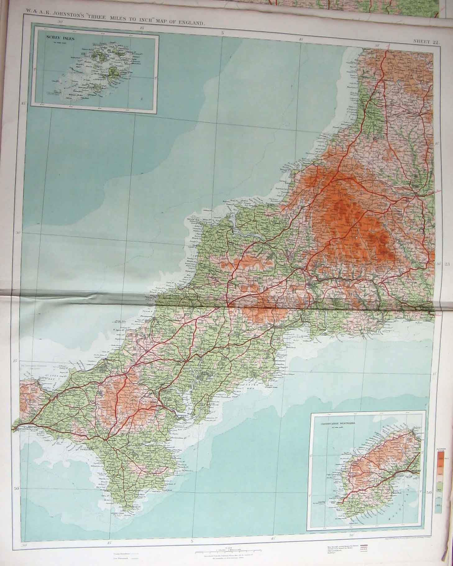 Print England Wales Isles Geographical Map Maps 226201 Old Original