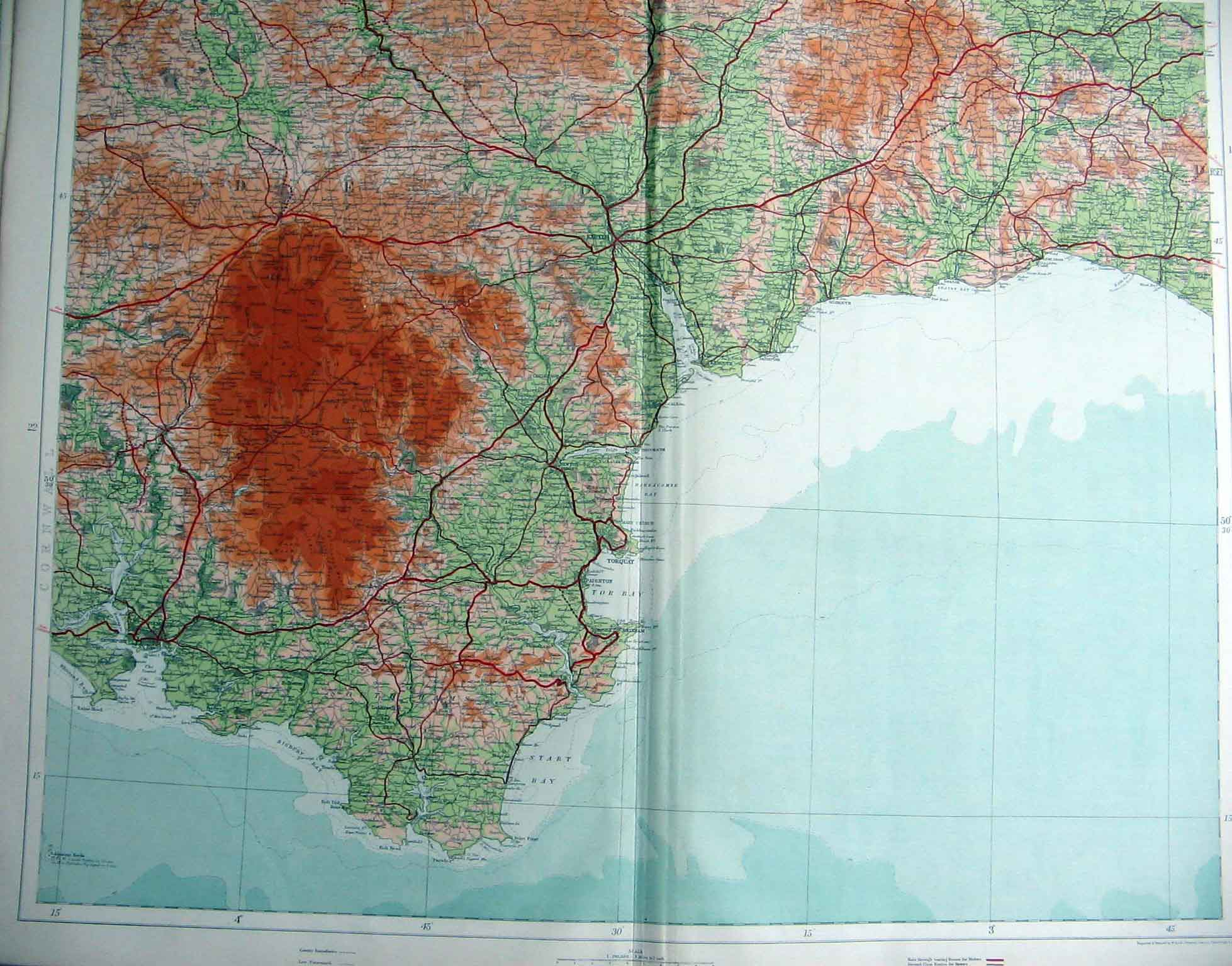 Print South East England Geographical Map Maps 236201 Old Original