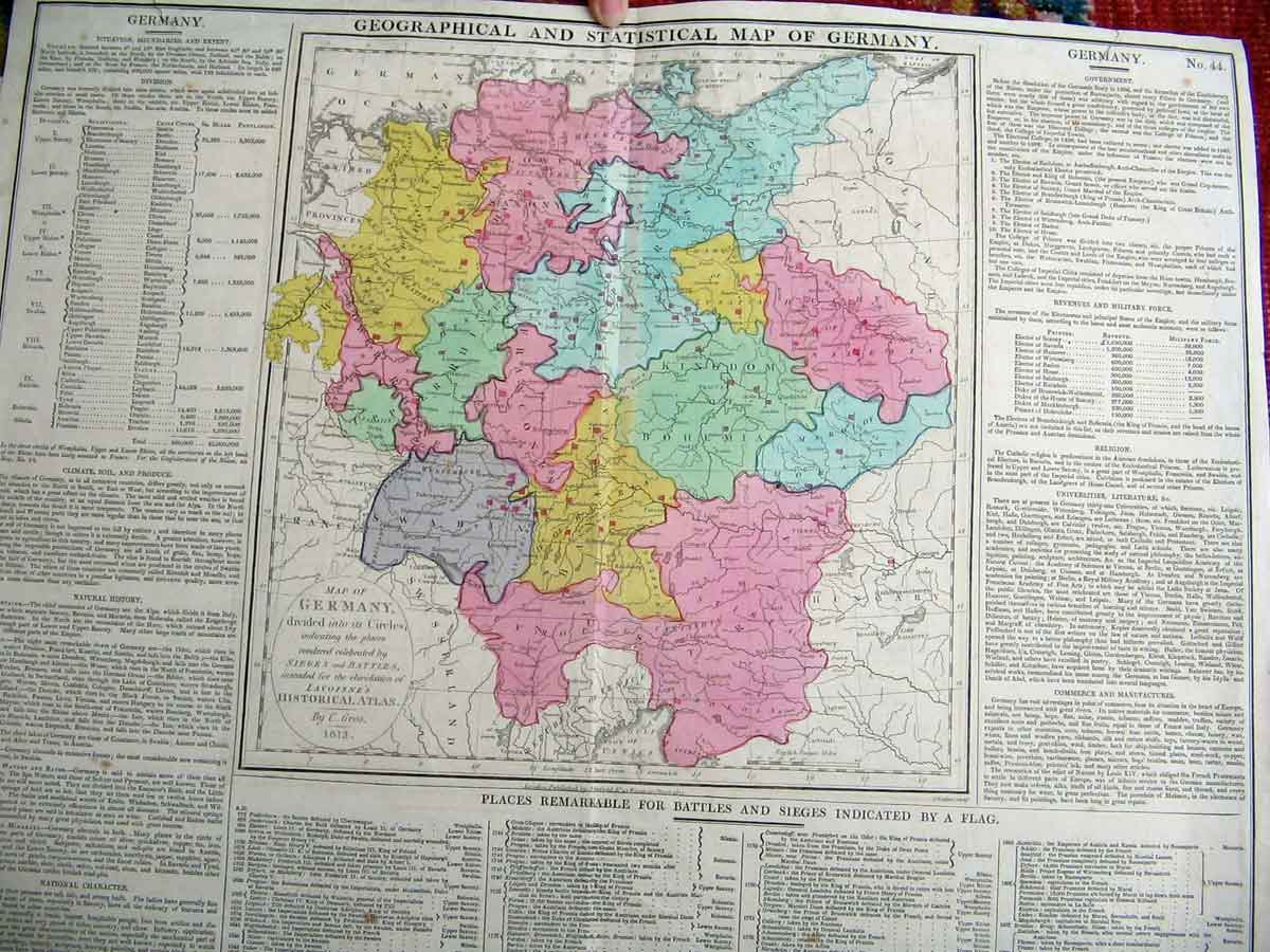 Print Germany German Geographical Map Maps 1813 586211 Old Original