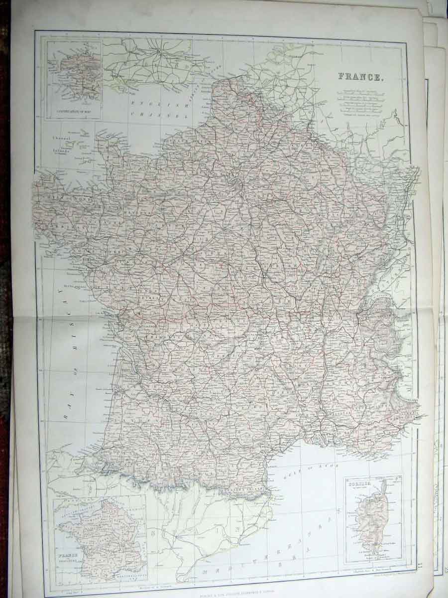 Print France Corsica Geographical Map Maps 1835 776211 Old Original