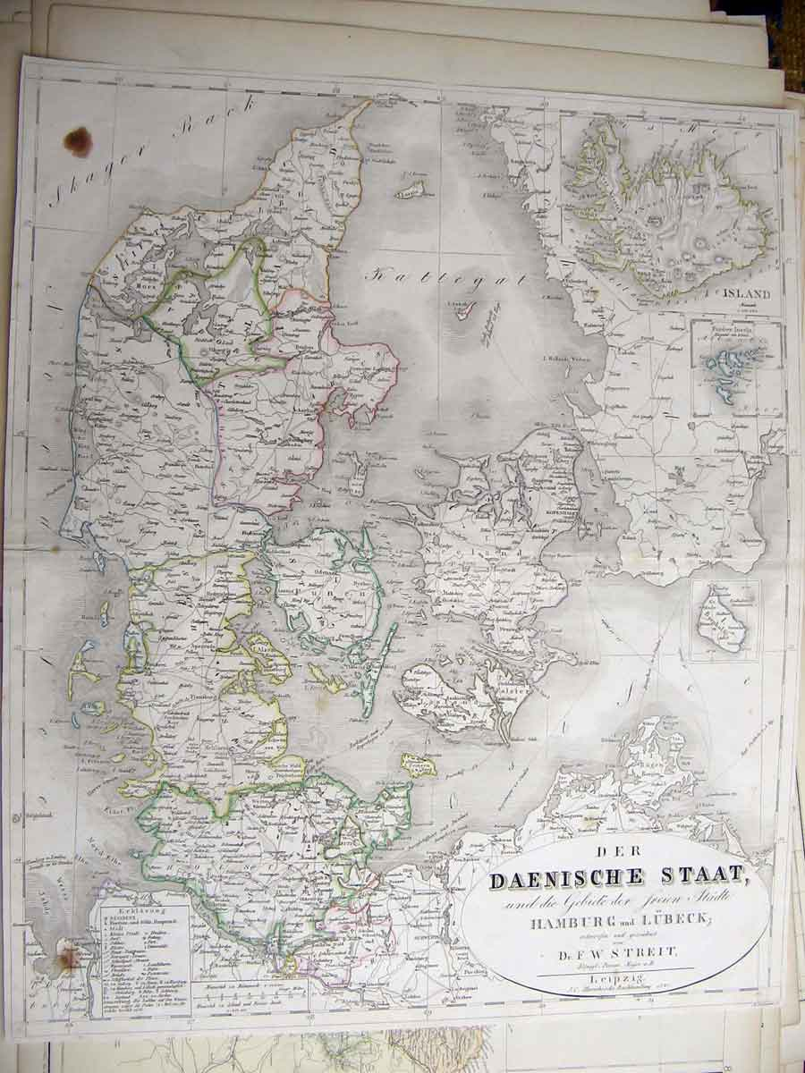 Print Germany Hamburg Lubeck Geographical Map Maps 686211 Old Original