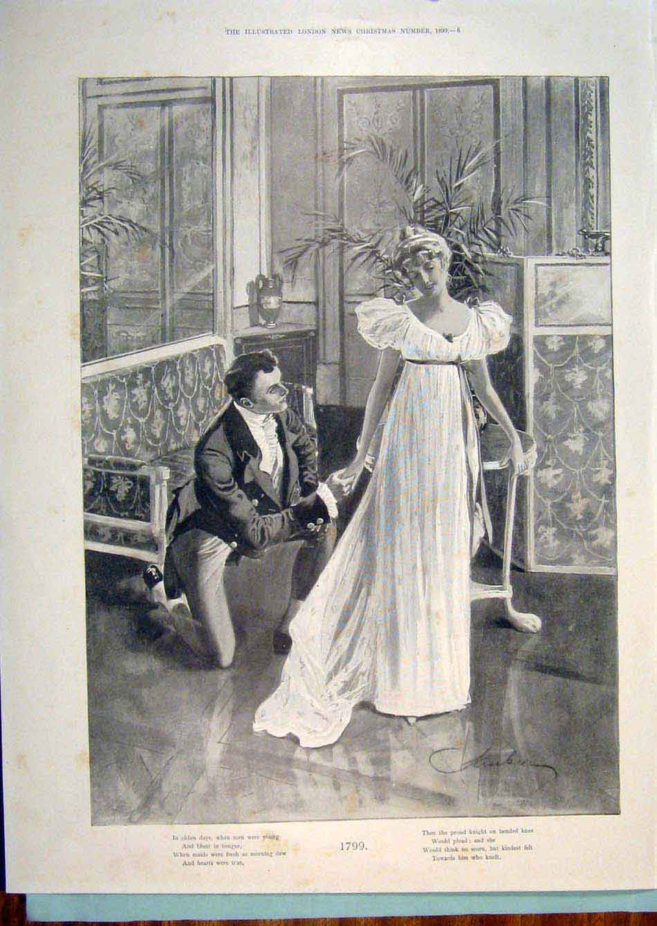 Print Davis Ball Dance 1899 Christmas Lady Gentleman 1799 02R6299 Old Original