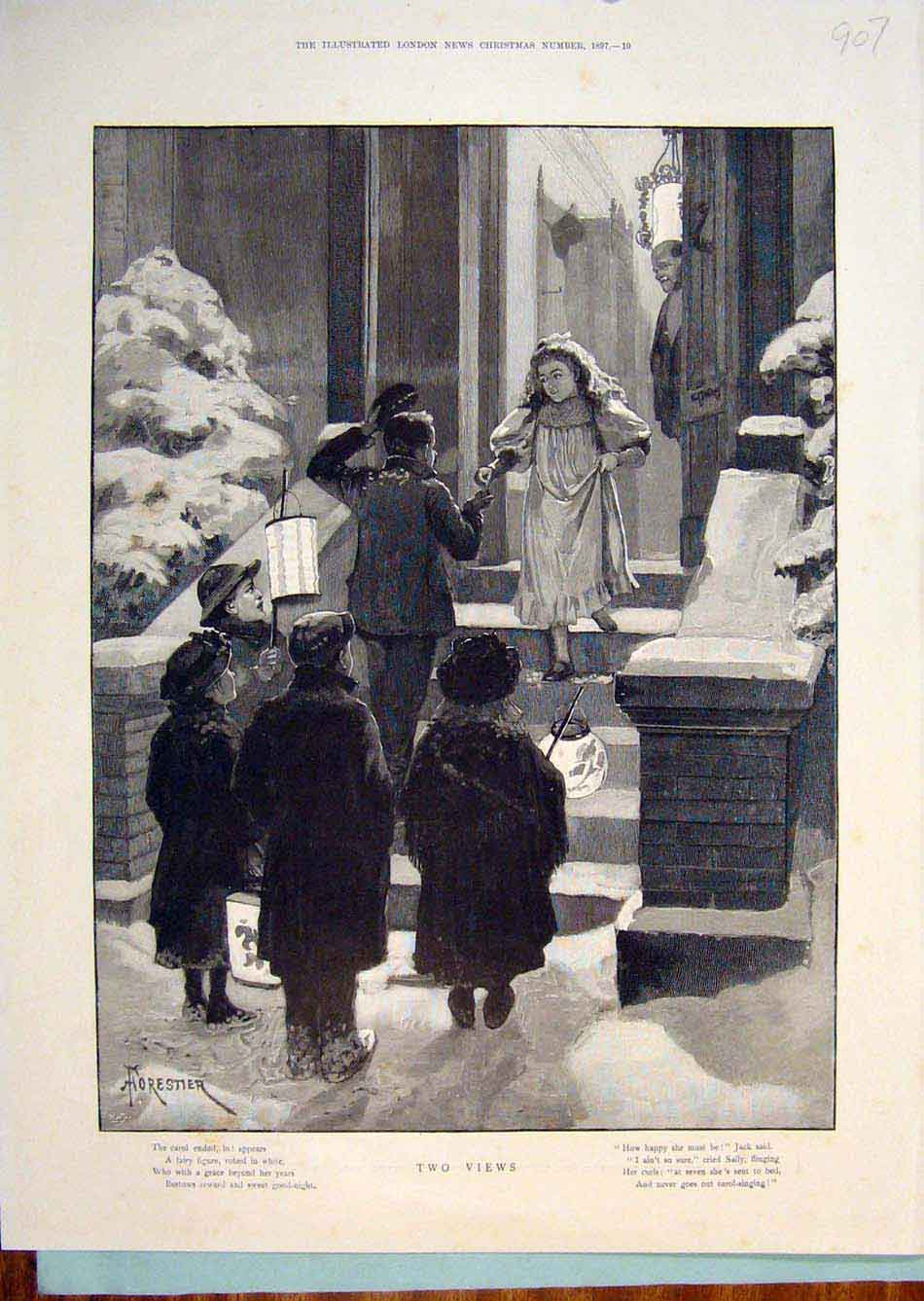 Print Children Child Carolers Forestier Christmas Carols 1897 076299 Old Original