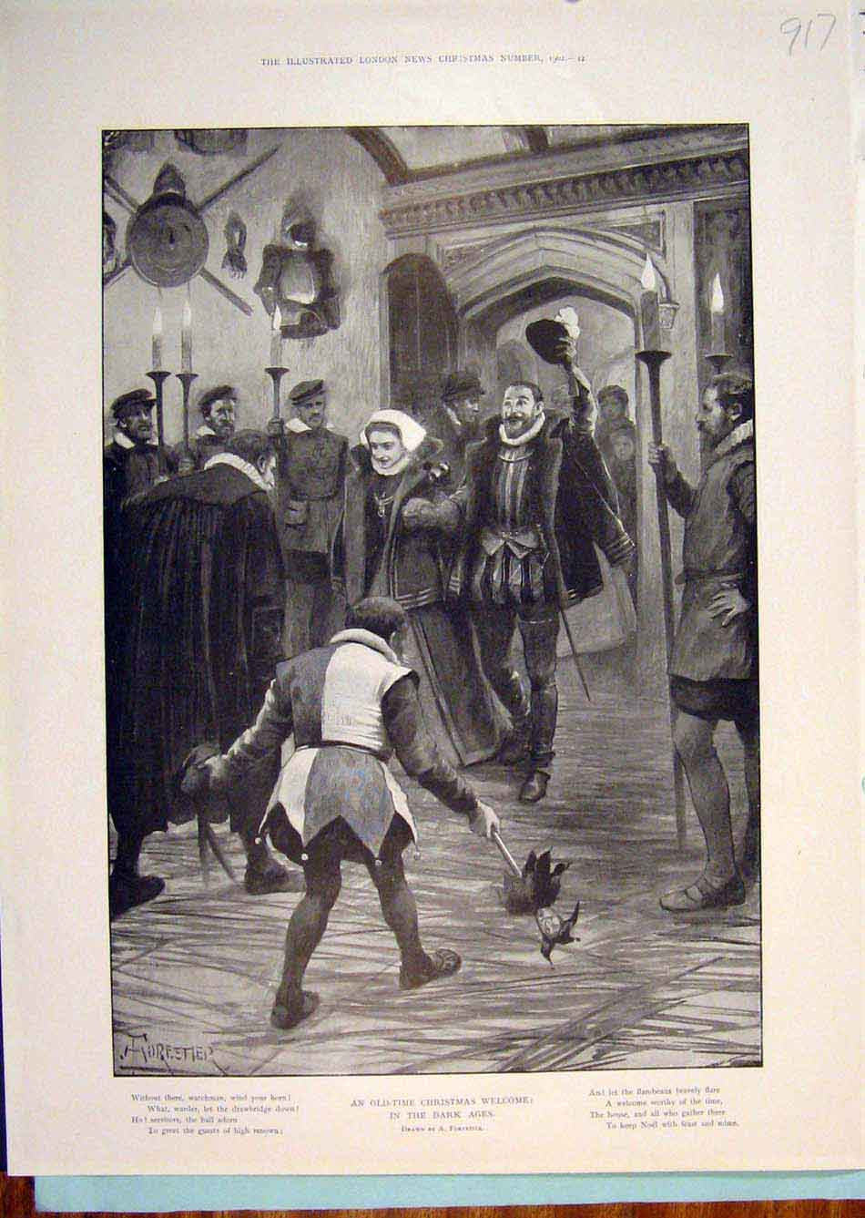 Print Christmas Welcome Forestier Noel Jester Lord Lady 1902 176299 Old Original