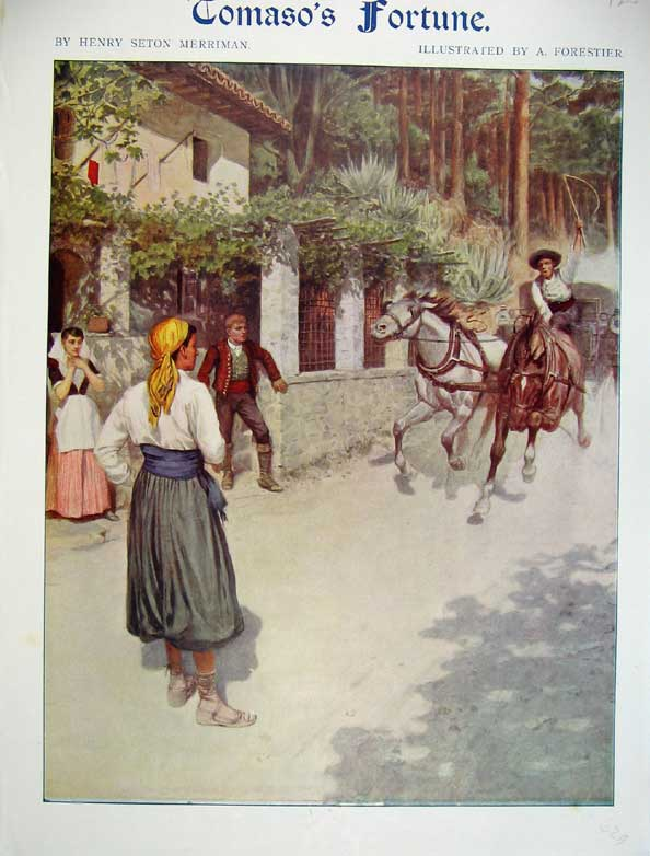 Print Tomaso Fortune Forestier Horses Carriage Street 236299 Old Original