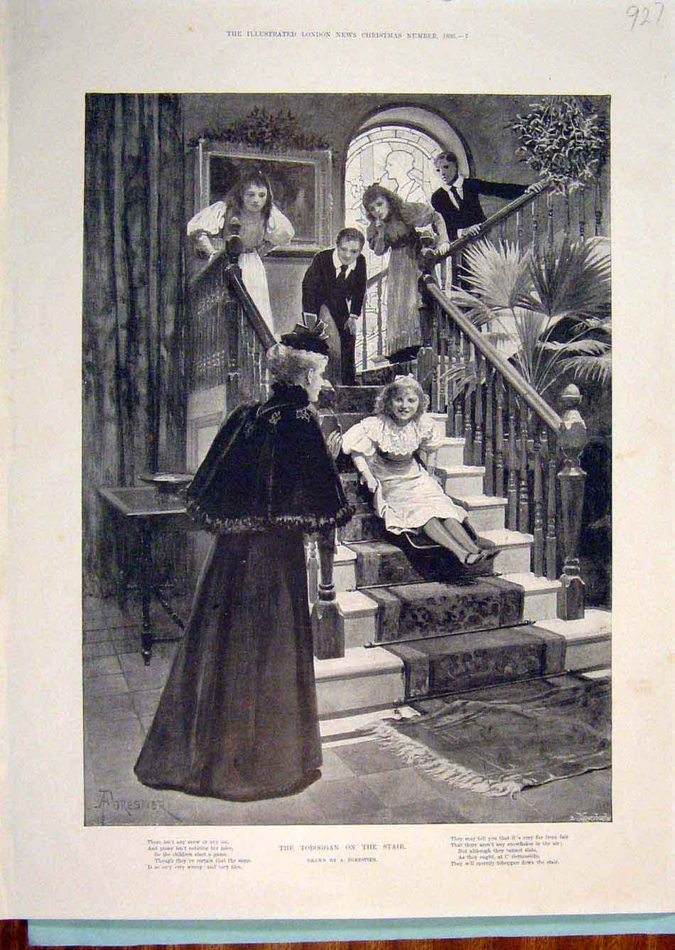 Print Toboggan Stairs Staircase Child Girl Forestier 1896 276299 Old Original