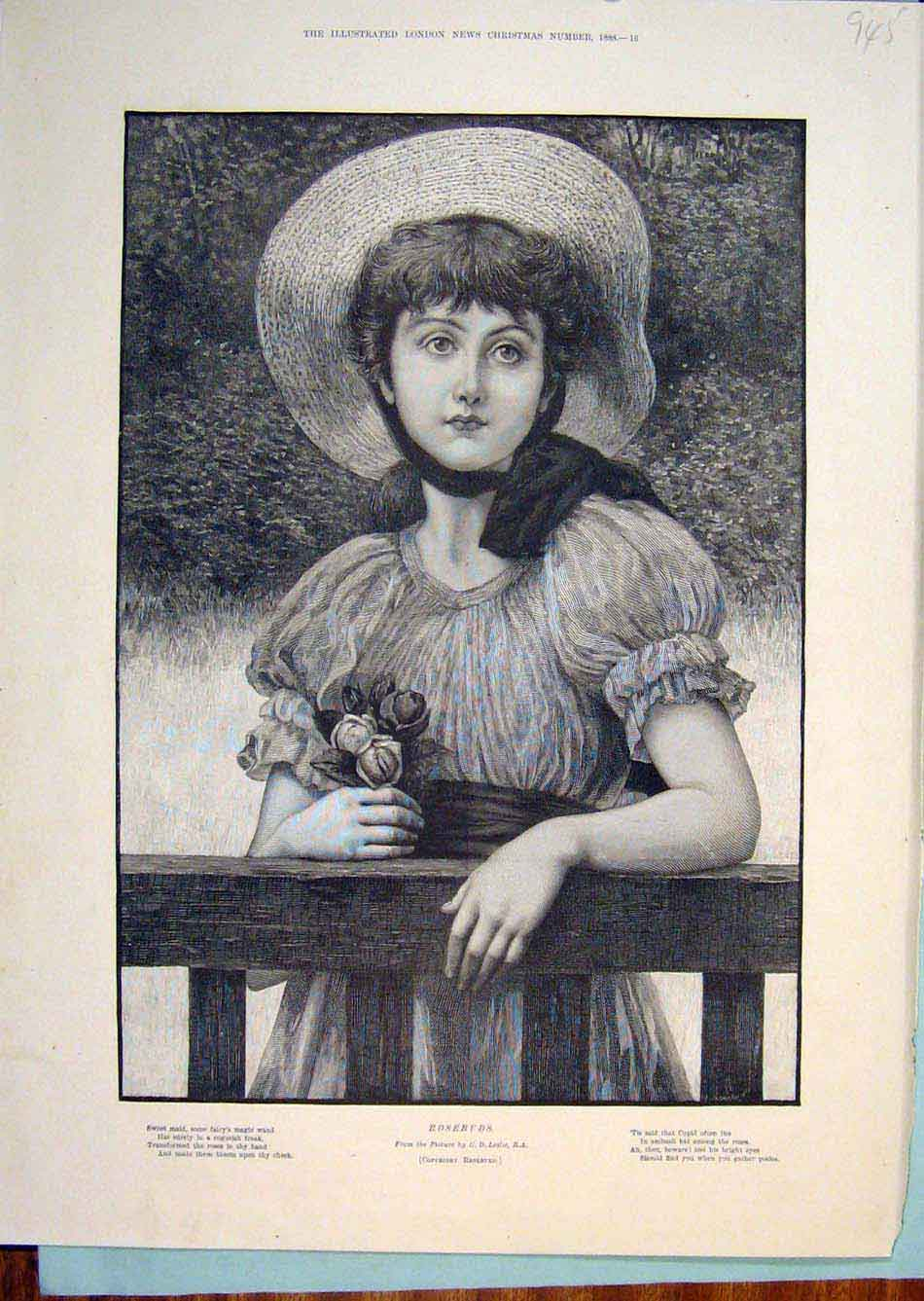 Print Girl Flowers Hat Portrait Rose Rosebuds Leslie 456299 Old Original