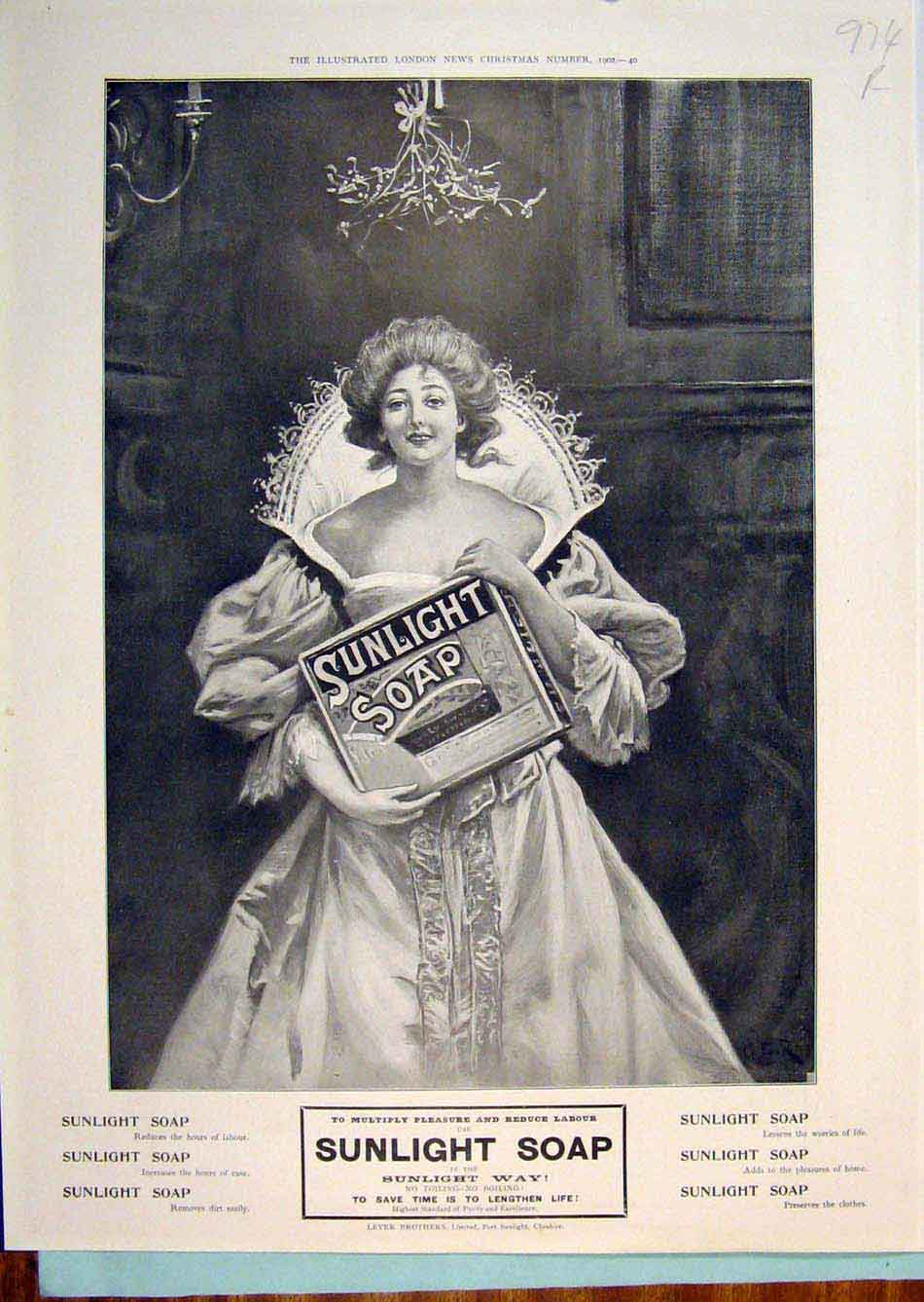 Print Sunlight Soap Advert Advertisement First Aid Elliman 74R6299 Old Original