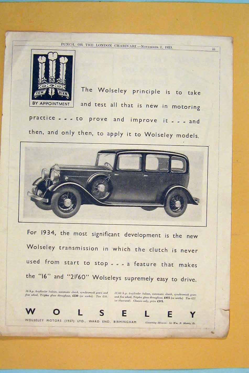 Print Car Cars Advert Adverts Advertising Wolseley Motor 1933 086301 Old Original