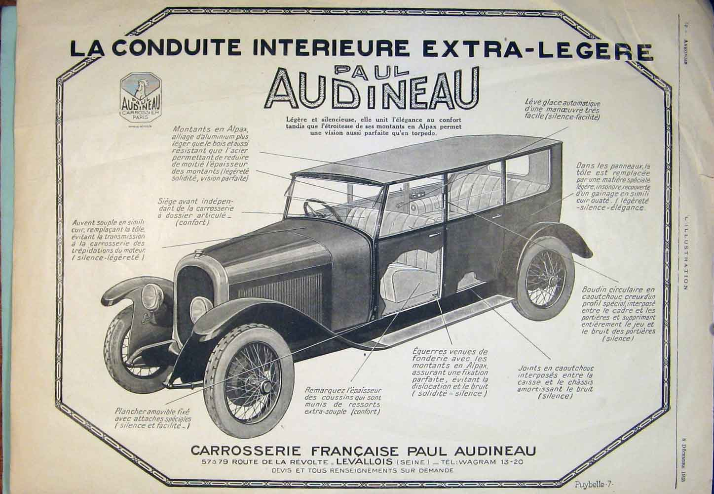 Print Car Cars Advert Adverts Advertising Audineau Motor 256301 Old Original