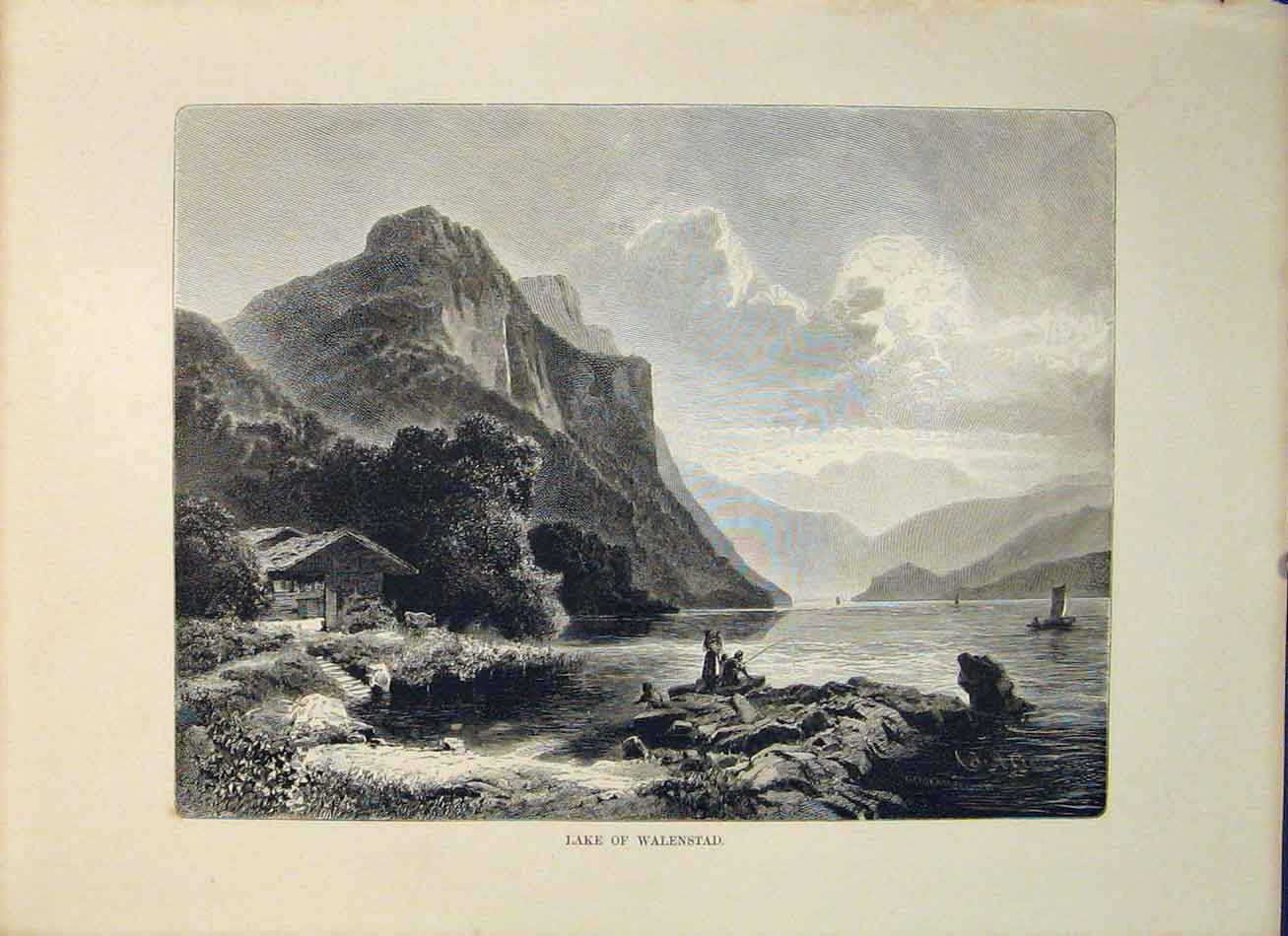 Print Lake Walenstad Switzerland Swiss Art 176321 Old Original