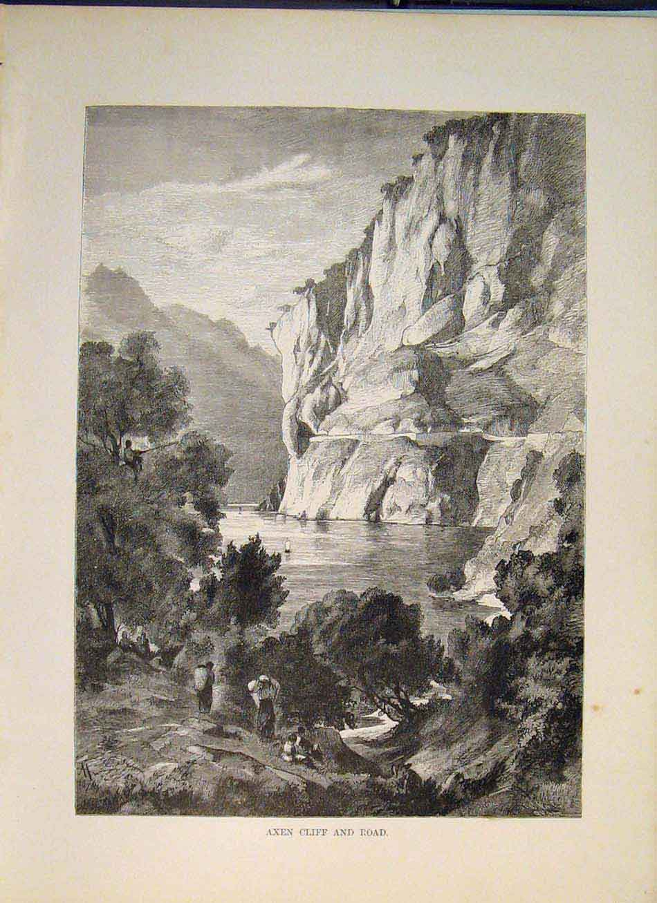 Print Switzerland Swiss Axen Cliff Road Fine Art 266321 Old Original