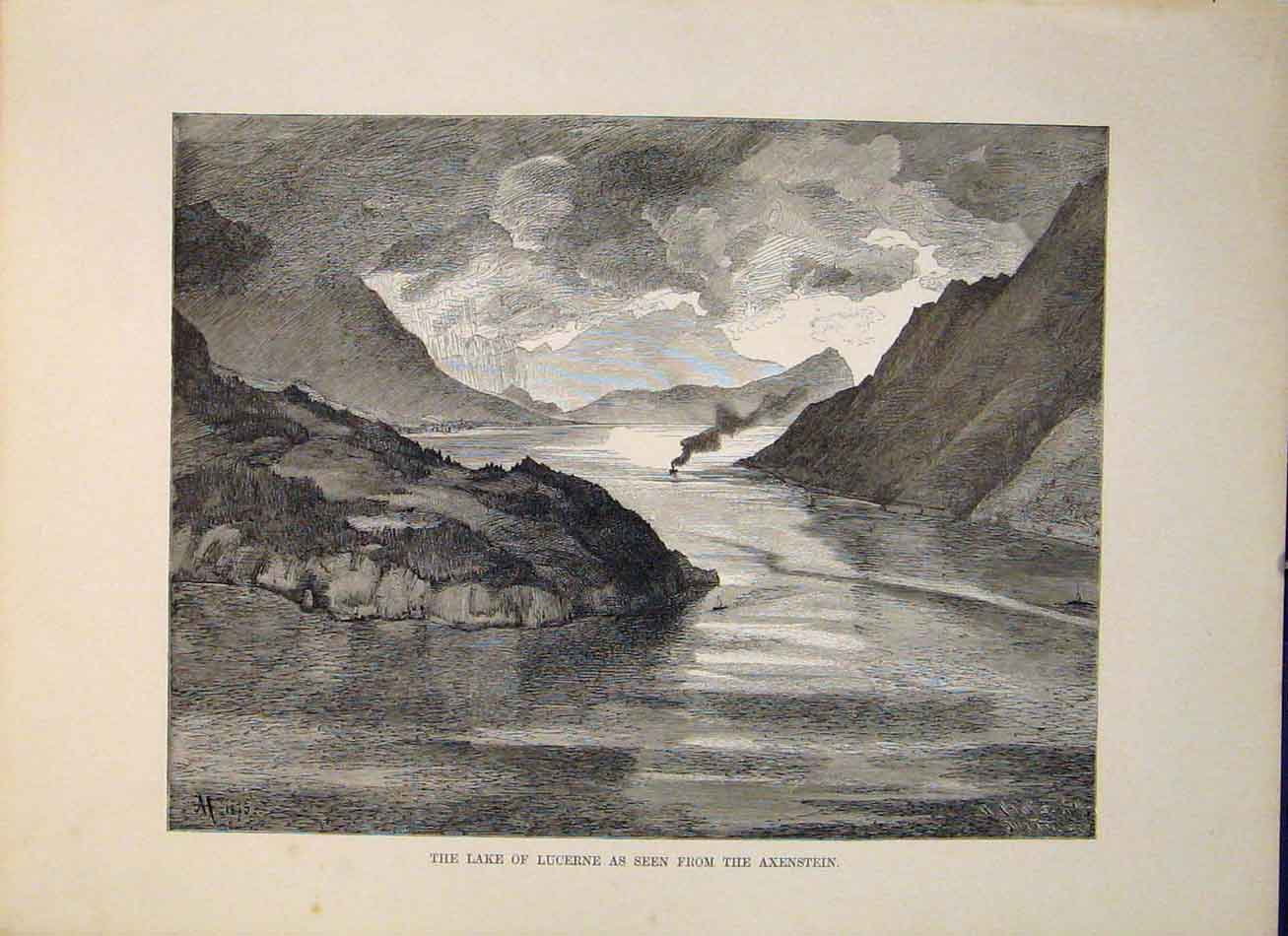 Print Lake Lucerne Axenstein Fine Art Switzerland Swiss 276321 Old Original
