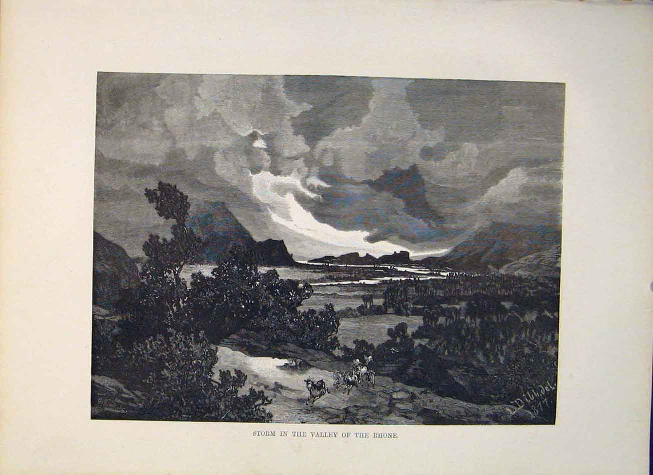 Print Storm Valley Rhone Switzerland Fine Art Swiss 516321 Old Original