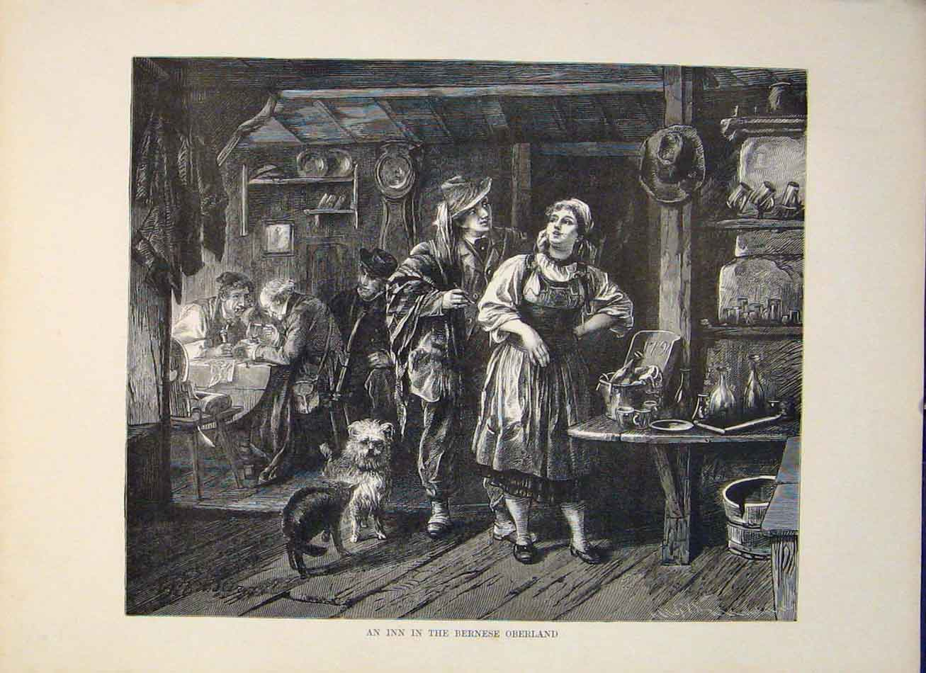 Print Inn Bernese Oberland Switzerland Art 646321 Old Original