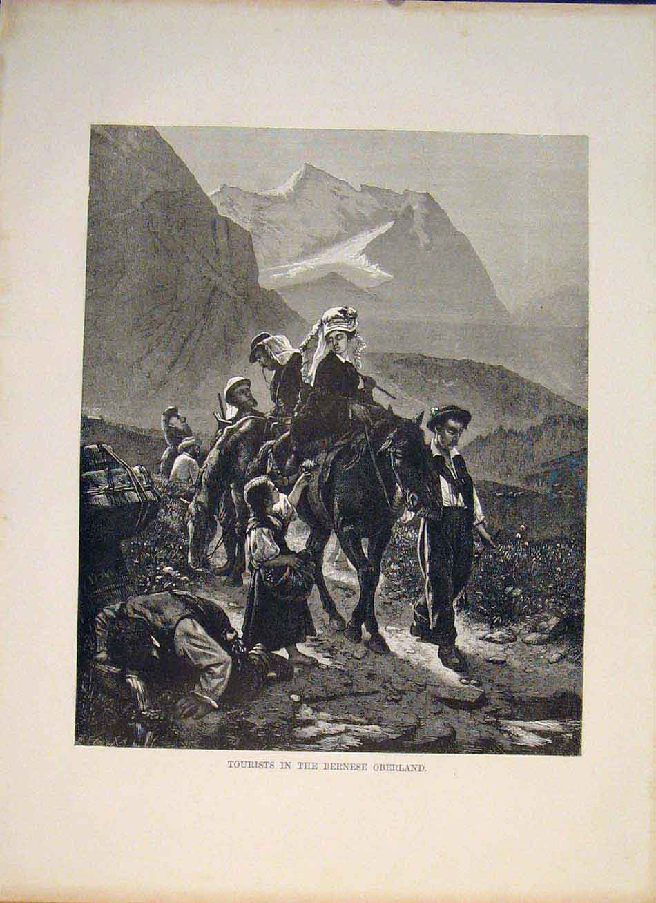 Print Tourists Bernese Oberland Switzerland Swiss656321 Old Original