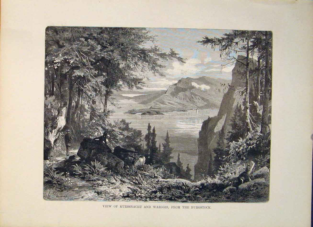 Print Switzerland Kuessnacht Burgstock 826321 Old Original