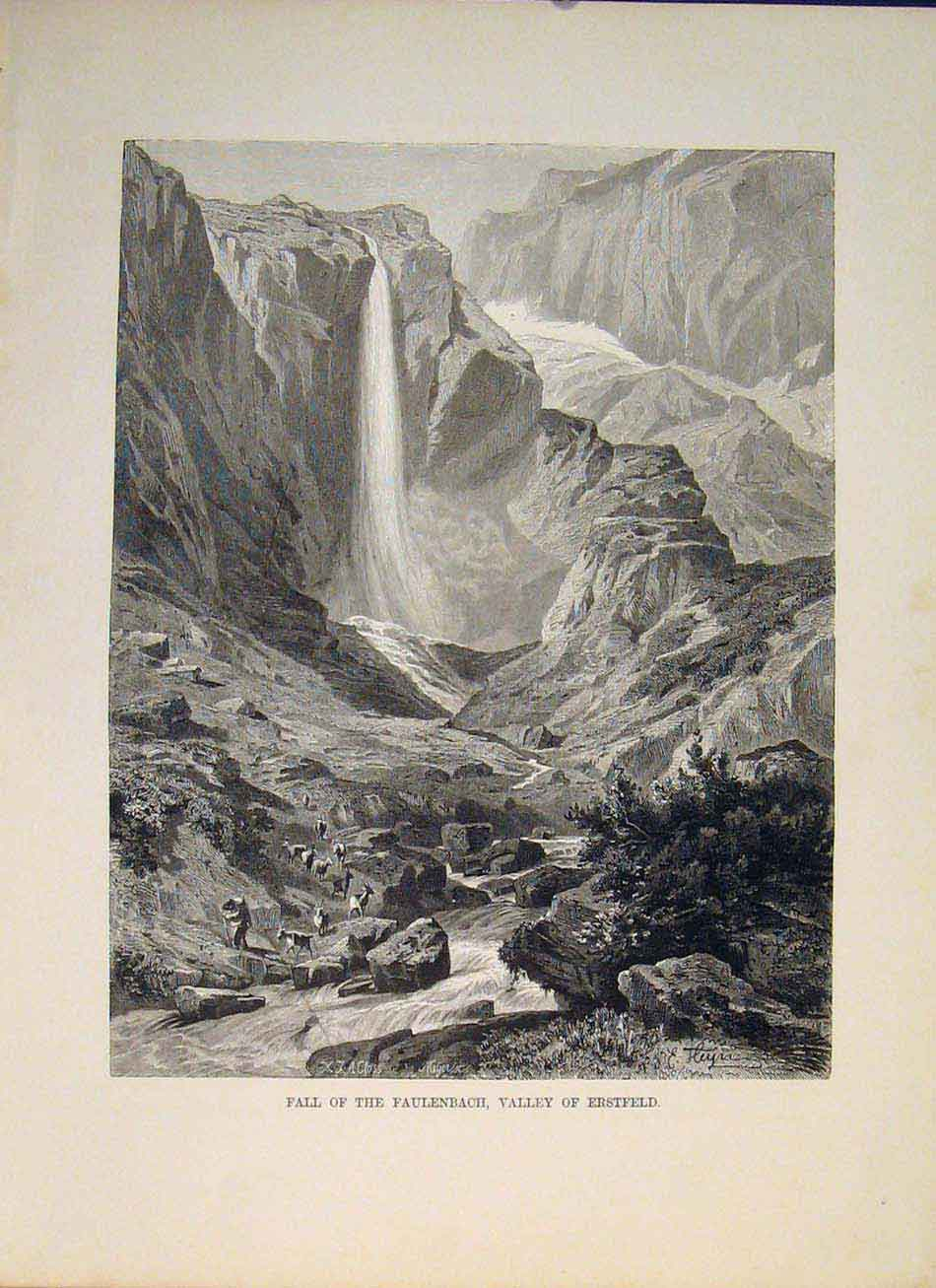 Print Switzerland Swiss Fall Faulenbach Valley 886321 Old Original