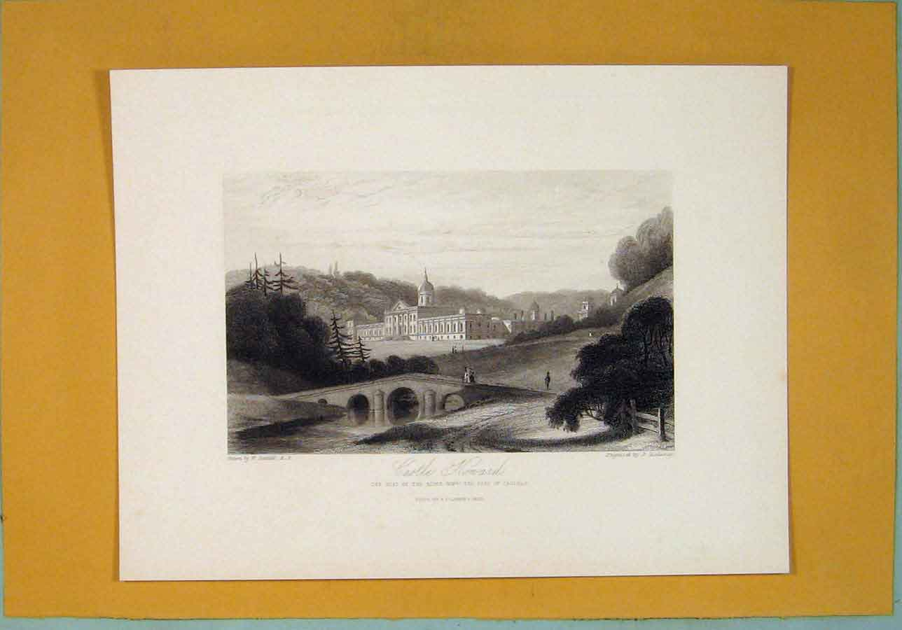 [Print Castle Honard Yorkshire Fine Art 1829 046361 Old Original]