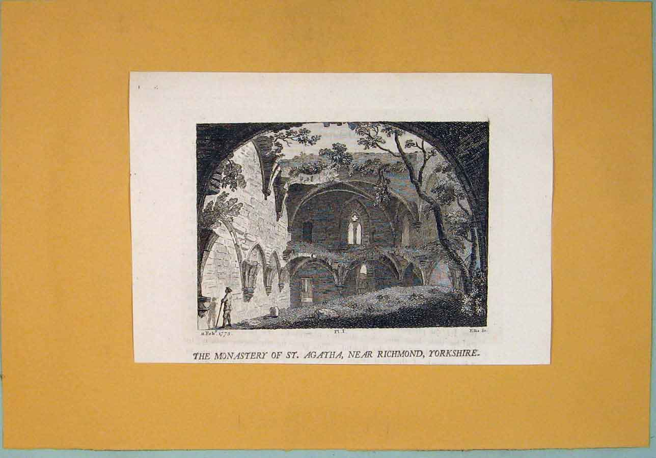 Print Monastery Agatha Richmond Yorkshire C1829 196361 Old Original