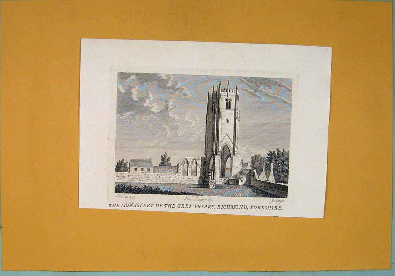 Print Monastery Grey Friars Richmond Yorkshire 376361 Old Original