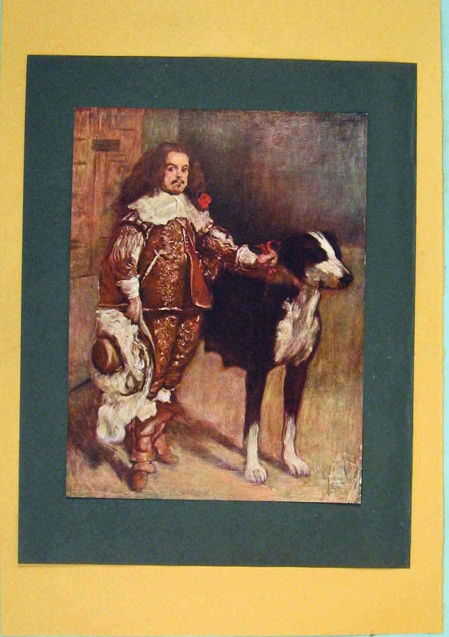 Print Dwarf Antonio Englishman Color Dog Portrait 066371 Old Original