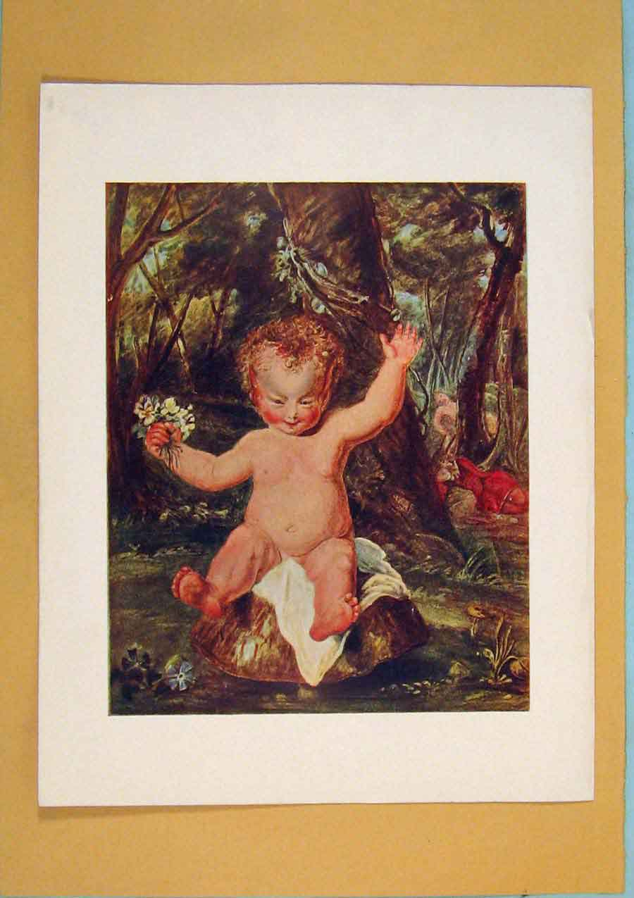 Print Puck Water Color Drawing Baby Forest 236371 Old Original