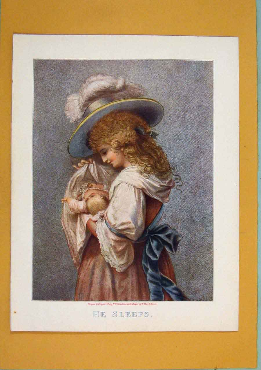 [Print He Sleeps Baby Mother Color Portrait Art 286371 Old Original]