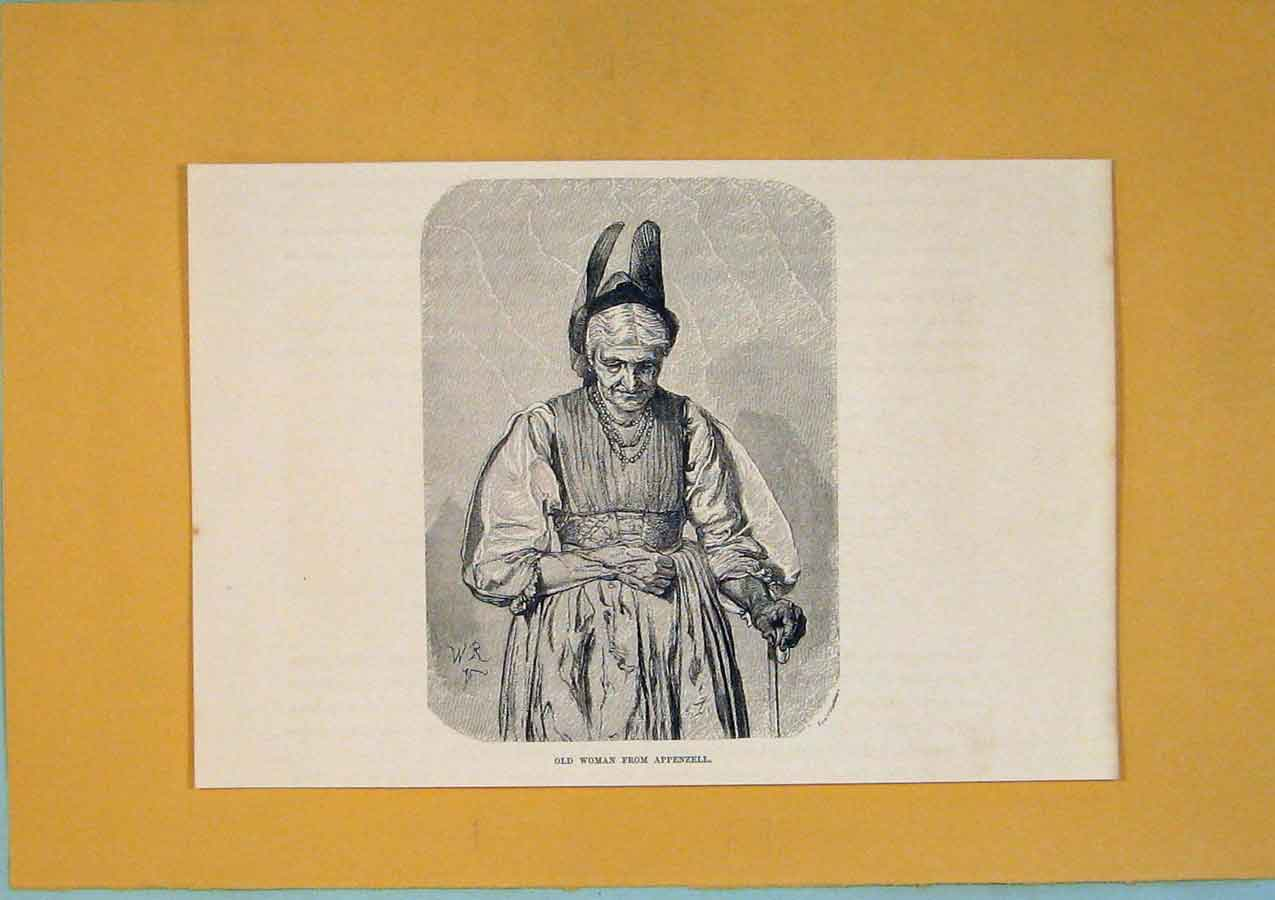 Print Woman Appenzell Switzerland C1878 Art 026411 Old Original